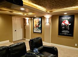 home theatre media room with textured acoustic ceiling tiles