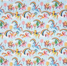 light blue henry fabric colorful unicorn magic