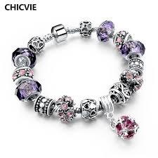 diy glass bead bracelet images Chicvie 925 silver crystal charm bracelets for women with purple jpg