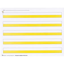 3 lined writing paper maxiaids kindergarten highlighter writing paper package of 50 kindergarten highlighter writing paper package of 50