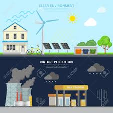 eco site clean environment and nature pollution flat style web site hero