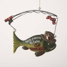 cast fishing ornament set