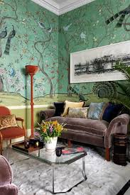 luxurious small living room hand painted wallpaper living room