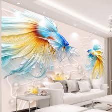 3d embossed wallpaper goldfish and lotus wall mural custom photo