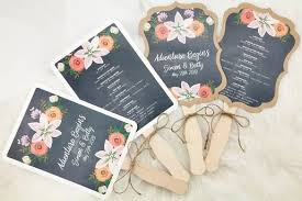where to print wedding programs personalized wedding program paddle fans with chalkboard color print