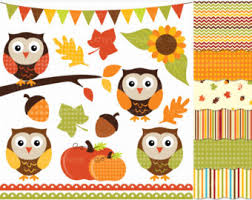 fall owls clip thanksgiving scrapbooking autumn colors brown