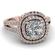 Rose Gold Wedding Rings by Rose Gold Cushion White Diamond Engagement Wedding Ring In Pave