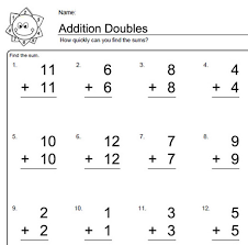 worksheets for elementary math doubles addition addition