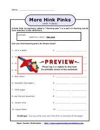 hink pinks level a easy super teacher worksheets