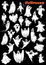 halloween background ghosts white flying monsters ghouls and ghosts isolated on background