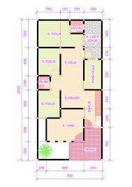denah rumah 3 kamar tidur 1 mushola minimalis sederhana dengan