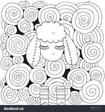 artistically ornamental sheep swirls ringlets handdrawn stock