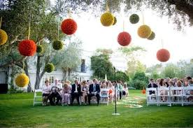 outdoor wedding hanging lantern pom pom flower decoration