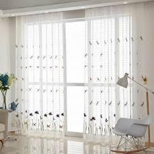 affordable botanical embroidery yarn elegant white sheer curtains