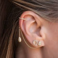 cuff earrings with chain buy white gold diamond pear stud and ear cuff chain earrings