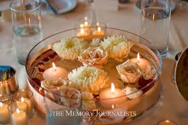 table decorations with candles and flowers white candle and white flower also water inside round glass holder