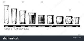 types of mugs types tumbler glass vector hand drawn stock vector 674124505