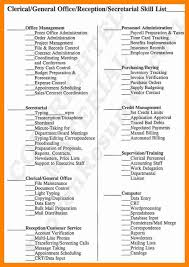 Clerical Resumes 100 Clerical Resume Skills 10 Best Images Of Clerical Work