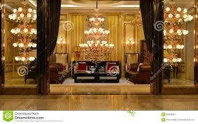 Villa Decoration by Luxury Crystal Chandelier Lighting Hall Decoration Stock Photo