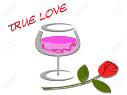 cartoon wine glass love word in wine glass and rose flower with true love message