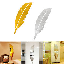 diy modern plume feather acrylic mirror wall sticker home mural detail image