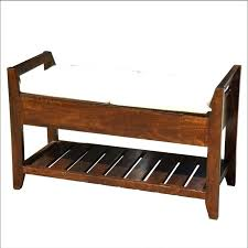 Cushioned Storage Bench Rustic Storage Bench Cushioned Rustic Storage Bench With Baskets