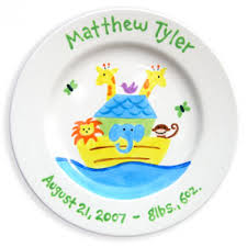 personalized baby birth plates personalized baby birth plate noah s ark boy personalized