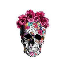 sugar skull flower crown drawing clipartxtras