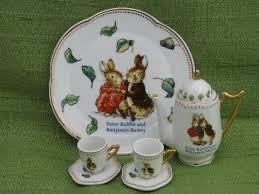 bunny tea set rabbit benjamin bunny doll size porcelain tea set for easter