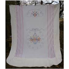 Summer Coverlet Embroidered Flower Basket Summer Coverlet Romantic Baskets And