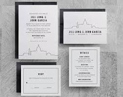 chicago wedding invitations skyline invitation etsy