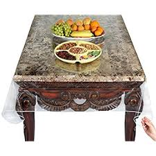thick clear vinyl table protector amazon com heavy duty deluxe clear vinyl tablecloth protector 70 x