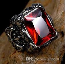 gothic ruby rings images Punk gothic real stainless steel ruby ring men 39 s big red stones jpg