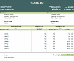 packing list template u2013 microsoft excel invoices ready made