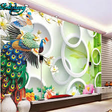 aliexpress com buy beibehang super green 3d peacock living room