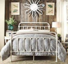 king size bed frame antique white shabby chic metal cottage