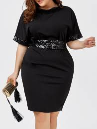 plus size sequined knee length dress with belt in black 2xl