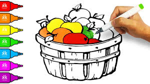 coloring pages for kids video colouring apples basket colorful