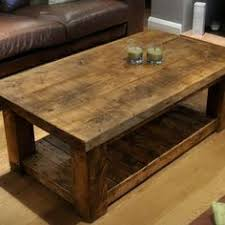 Solid Oak Coffee Table Reclaimed Wood Coffee Table Rustic Table Display Shelves And