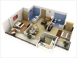Two Bedroom House Designs Awesome Two Bedroom Apartment D Floor Plans Architecture Small 3d