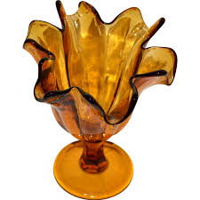 Handkerchief Vase 1970s Tortured Amber Art Glass Handkerchief Vase From