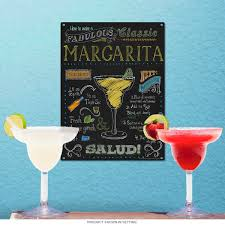 Margarita Recipe Chalkboard Style Sign Bar Decor Retroplanet Com