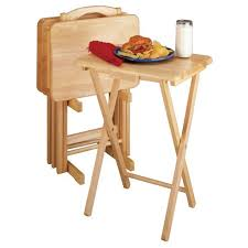 folding oversized wood tray table in espresso alex 5 piece snack table set natural winsome target