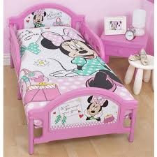 simple design of kids bedroom with minnie mouse toddler bed set