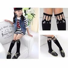 cute stockings kids toddlers girls soft school knee high cotton tights socks