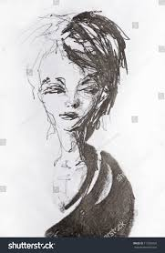 pencil sketch pretty young woman looking stock photo 113282026