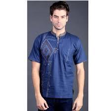 Baju Levis Biru baju koko lengan pendek keren dan modern bahan katun warna biru