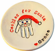 christmas cookie handprint serving plate santa handprint
