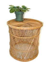 Rattan Side Table Vintage Rattan Drum Table Side Table Bohemian Home Plant Stand