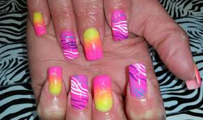 acrylic nails l neon ombre zebra l nail design youtube